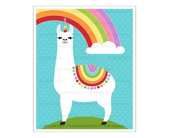 65j Rainbow Decor Llamacorn Rainbow Wall Art Rainbow Art