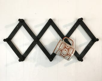 vintage peg rack - black wooden mug cup holder - farmhouse kitchen - cottage style wall storage