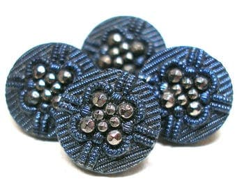 "1800s French Lacy glass BUTTONS, 4 Victorian black glass blue & silver luster. Faux facets and imitation fabric design, 1/2"". Made in France"