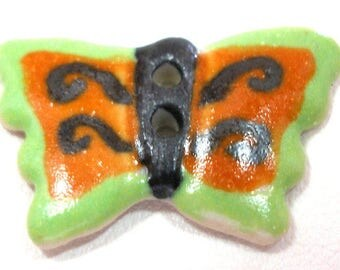 "Ceramic BUTTERFLY Button, Handmade insect button, 7/8"". Orange and green."