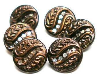 "Antique French BUTTONs, 6 Victorian twinkle buttons, bronze tint. Mint. Made in France. 9/16""."