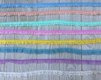 Ruffled Lace Trim 5/8 inch-Pink, Light Blue, Yellow, Mint, peach, white, aqua, purple--5 yards