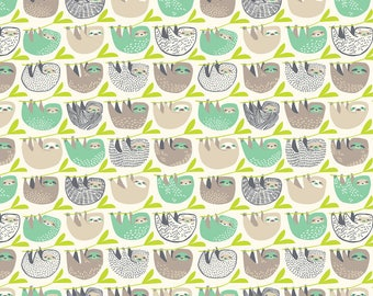 Slumber of Sloths Taupe  - Rainforest Slumber - Katy Tanis - Blend Fabric 100% Quilters Cotton 124.105.03.2