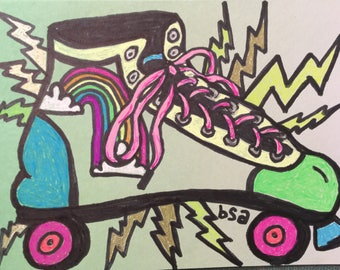 Green Retro Roller Skate Notecard