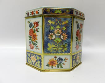 Vintage storage tin - gorgeous graphics - by Daher