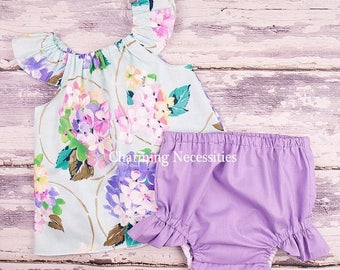 SALE Baby Girl Clothes, Toddler Girl Clothes, Baby Girl Coming Home Outfit,  Baby Shower,  Flutter Top and Diaper Cover in Delightful Mint