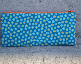 Medium Zipper Pouch, Pencil Case, Gadget Case, Coin Purse, Case for Knitting Notions - Notions Pouch - Gift for a Knitter - Anstract Circles