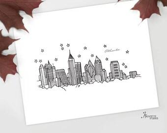 Atlanta, Georgia - United States - Instant Download Printable Art - City Skyline Series