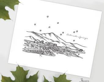 Colorado Springs, Colorado - United States - Instant Download Printable Art - City Skyline Series