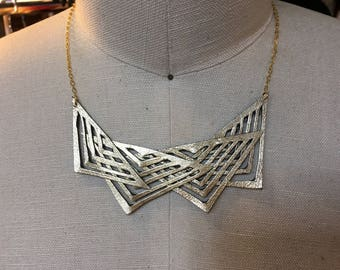 Triangles Tribal Metallic Gold Leather Necklace