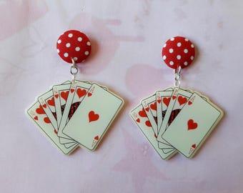 Earrings - Casino - Las Vegas poker card game