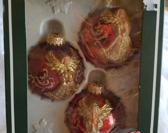 Vintage Christmas Ornaments, Decorated Glass, Red, 3 Ornaments in Original Box
