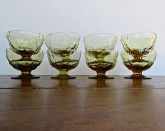 Seneca Driftwood Casual, Set of 4 Golden-Moss Champagne/Parfait Glasses in Smoke-Green Gold, MCM Morgantown, West Virginia