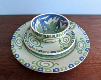 Joy Nash Ford Hand Painted Art Nouveau 1930s Revival Low Fired Luncheon Set, Curvy Green & Blue Starfish Design, Signed and Dated 1937
