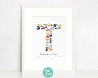 Custom Birth Announcement Print // Transportation decor // Custom Initial and birth stats // New baby gift // Boy Nursery Decor