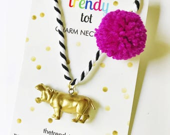 Kids Jewelry. Hippo Necklace. Unique gift for kid. Pompom Necklace. Hippopotamus. Animal Necklace. Girls Necklace. Girl Gift. Boy Gift.