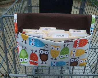 Waterproof Coupon or Purse Organizer Owls Fabric Brown Lining, Ready to ship