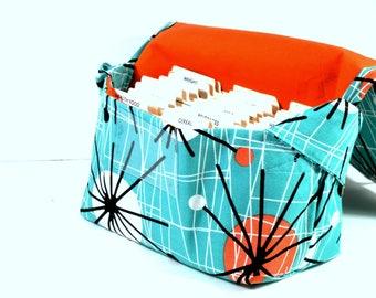 Ready to Ship, Coupon Organizer Mega Large Atomic in Turquoise with Orange lining