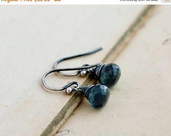 Summer Sale Drop Earrings, Gemstone Earrings, Aquamarine Earrings, March Birthstone, Birthstone Earrings, Moss Aquamarine, Sterling Silver,