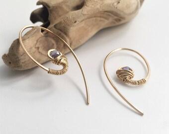 Gold Filled Swirl Gemstone Earrings - Iolite - E470GF-IO -handmade by cristysjewelry