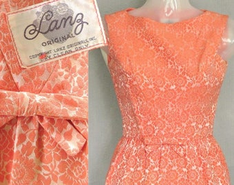 Vintage Lanz Dress / 1960s Cocktail Party Sheath Jackie O style / 60s Peach Brocade / Wedding and Garden Party XS Petite size