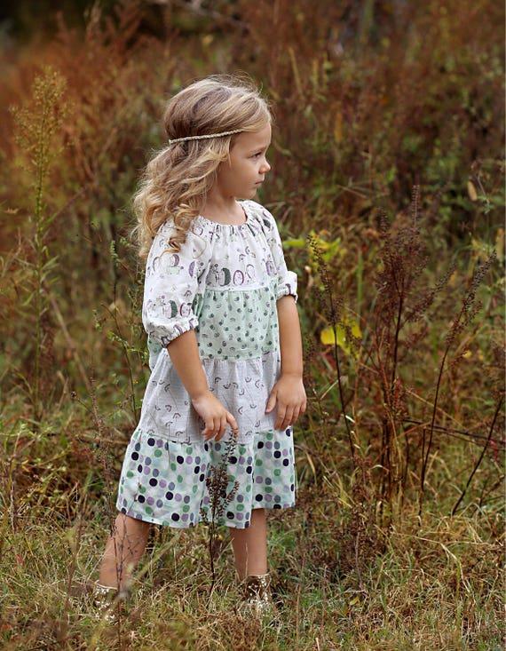 Girls Hedgehog Dress - Peasant Dress - Polka Dot Dress - Fall Peasant Dress - Lavender Dress