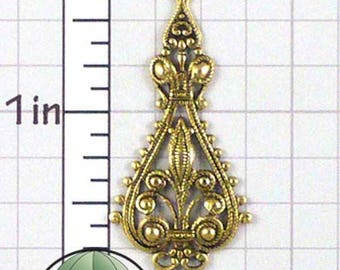Victorian Finding, Filigree Drop, Necklace Finding, Earring Finding, Filigree Stamping, Gold Ox, Gold Plated Brass, 4 Pcs, 1271go4