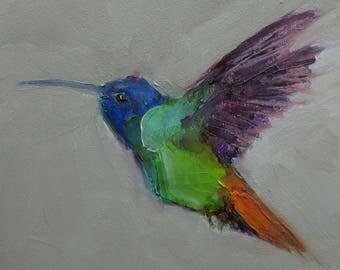 HUMMINGBIRD BIRD Original Art Colette Davis 4X4 Painting Oil