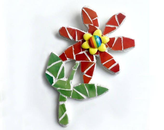 Rainbow Mosaic Flower Magnet, Red Mosaic Flower Magnet, Red Green Flower Magnet, Mixed Media Flower, Rainbow Magnet, Flower Shaped Magnet