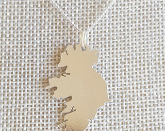 State Charm Necklace, Map of Ireland Necklace, Map Gifts, Map Jewelry, Country Necklace, Map Necklace
