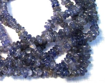 20% OFF SALE Natural Blue Iolite Beads, Great Blue Gemstone, Slice Nugget Beads 8mm 10mm, Sapphire Blue 227G