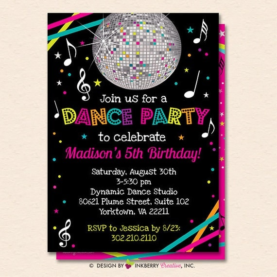 dance party invitation dance party invite neon glow dance party