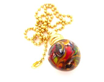 Pull Chain for Fan or Light - Handmade Venetian Glass -Yellow Orange Red Green Blue Purple - 18 inch - Brass or Nickel - Lampwork Glass