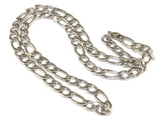 Stainless Steel Chain, 18 inch Figaro Style Link Neck Chain for Men or Women