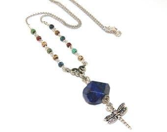 Lapis & Dragonfly Necklace, Symbolic Jewelry, Blue Lapis Gemstone Nugget
