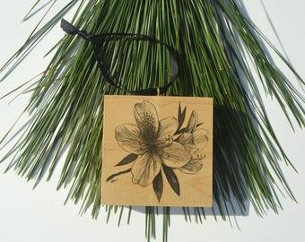 Azalea Blossom Wood Block Christmas Ornament
