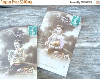 ON SALE Vintage 1900s a set of 2 recolored French postcards  recolored boy  with Eastern eggs