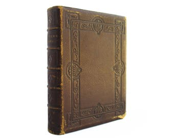 Poetical Works of John Greenleaf Whittier - decorative antiquarian book bound in leather from 1871 - Free US Shipping