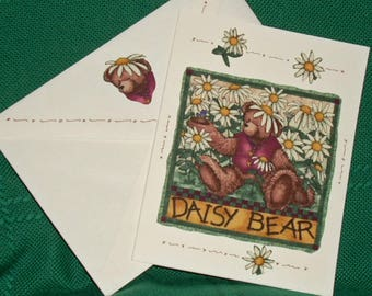 NOTECARDS---Bears and Flowers in Fabric Applique