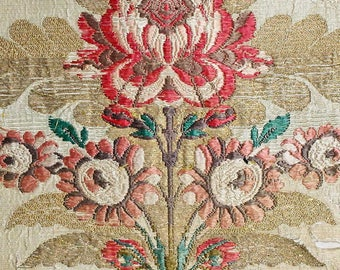 Stunning Chinese Woven Silk/Metal Fabric Fragment Perfect For Decorative Pillow