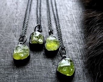 Raw Peridot necklace | natural peridot necklace | Green stone necklace