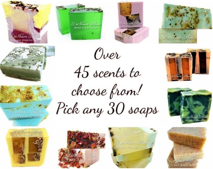 SOAP -30 SOAPS, very unique assorted vegan handmade soaps. Great for gifts, weddings, favors, coporate gifts.