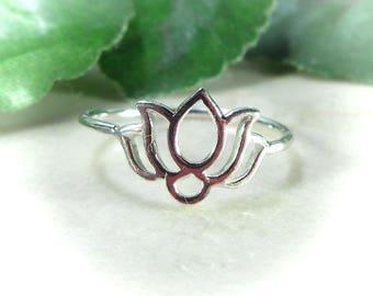 Lotus Flower Ring Sterling Silver - Statement Ring, Lotus Ring, Knuckle Ring, Thumb Ring, Yoga Ring, Zen Ring, Meditation RingNew Beginnings