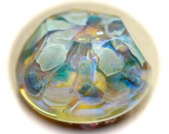 Button ~ Intermixed Glass, Paperweight, Faceted, Lampworked by KPHoppe ~ Medium