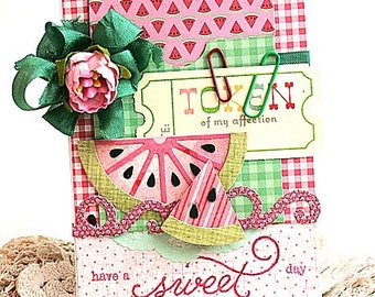 Summer theme card-WATERMELON slices-have a sweet day-greeting