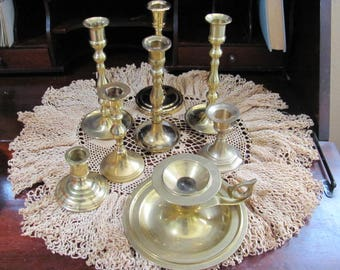 Lot Brass Candle Holders, Wedding Candle Holders Lot 8 Instant Collection Hard to Find