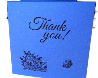 "6  Mini Note Cards, 3x3"", Blue Violet Cardstock with Black ""Thank You"" in script, wildflowers and butterfly, Blank inside, Takuniquedesigns"