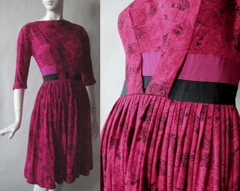 MOVING SALE 1960's party dress, rose print soft jersey knit in fuschia, wine, and black, with double grosgrain sash, small / medium