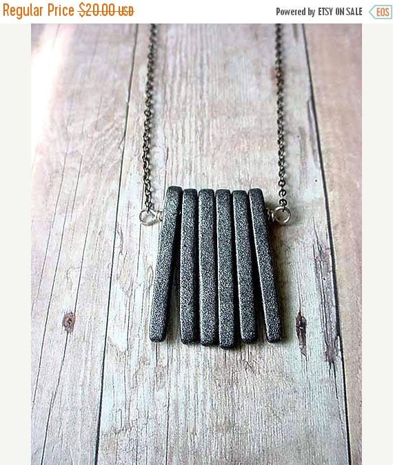 50%OFF Modern Industrial Unisex Gray Spikes Necklace, Concrete Slate Grey Ceramic Pendant Gift Box