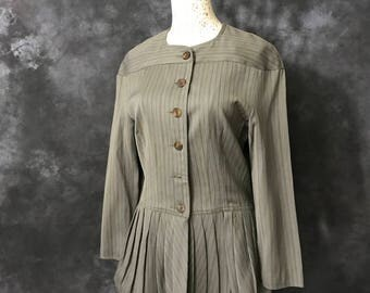 Vintage 1980's grey brown pinstripe Elena E Dino DeLarocca jacket pleated peplum